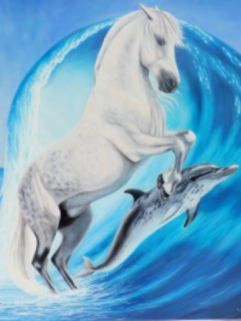 gallery_SylvieGourmet_Horse and dolphin blue
