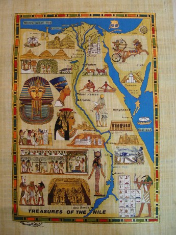 11 A papyrus map of Egypt (bought in Golden Eagle Papyrus shop in Cairo)